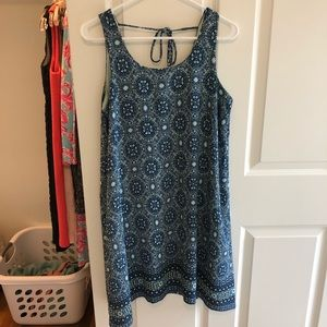 Bobeau blue and green pattern dress, size small